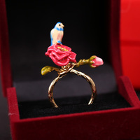 Fashion enamel glaze les nereides flower bud blue ring