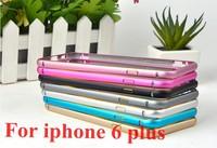 100PCS For iphone 6 plus Bumper Circle Arc & Double Color Metal Frame  Ultra Thin Aluminum Bumper For iphone 6 plus 5.5'' Case