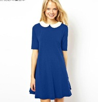 new doll collar ladies put on a large loose short-sleeved solid color dress