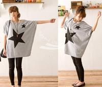 Fashion Women's Loose Star Print Bat Short Sleeve T-shirt Tops Blouse White, Gray Free Shipping 7094