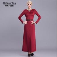 2015 New fashion red long dress women's elegant slim long sleeve back V-neck dress plus size basic dress