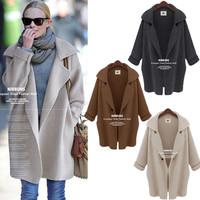 2014 Fashion New Women Batwing Sleeve Knitted Open Cardigan Loose Sweater Lady Jacket Coat