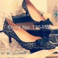 2014 Womens Pointed Toe Pump Kitten Heels Bowknot Shoes