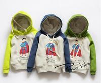 New 2014 baby boys super man cotton thicken hoodies children kids pitchwork coat kids fashion clothes A139