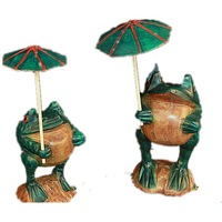 Lucky Frogs with an Umbrella Figurines (A Pair) for Wedding Decoration and Gift