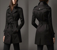 New 2015Women Fashion double breasted leather buckle Trench Coat/High Quality Designer Elegant Trench khaki, black F320B016