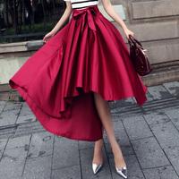 2014 autumn fashion vintage royal gorgeous slim medium-long low-high irregular bust skirt female