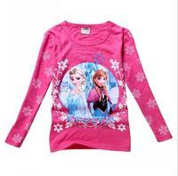 New 2015 frozen spring Tee T-shirt girls long sleeve cartoon shirts baby Elsa & Anna girl shirt cotton tops kids clothes WD2103