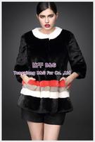 BG70824  2014 Genuine Full Pelt  Mink Fur Winter Women's coat