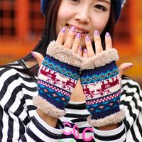 Fashion Girl Ladies Fingerless Fur Winter Warm Wrist Knitted Wool Mitten Gloves Free Shipping