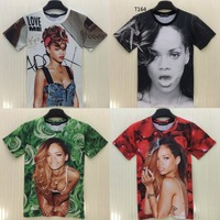 [Amy] Europe and America popular rihanna print rose nice 3d tshirt women casual 3D T shirt T182-T189 size M-XXL free shipping