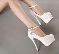 2014 14cm princess high-heeled shoes sexy platform thin heels single shoes white wedding shoes