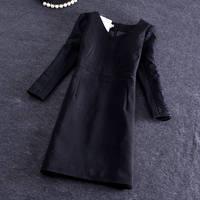 Free shipping Wholesale Korean Women OL Slim waist lace V-neck dress commuter career temperament 2015