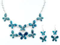 Top Quality Butterfly Enamel Fashion jewellery set Women's Party gift Alloy choker Pendant Necklace and earrings set Gifts A082