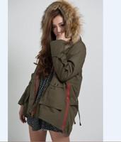 Hot!Women Big Fur Collar Cotton Coats Winter Warm Loose Brand Outwear/Parkas Big Size