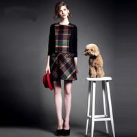 2015 spring  Elegant vintage dress women wool warm long winter dress plaid knitting  office long wool dress