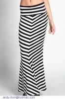 High Waisted Chevron Striped Maxi Skirt  LC71073