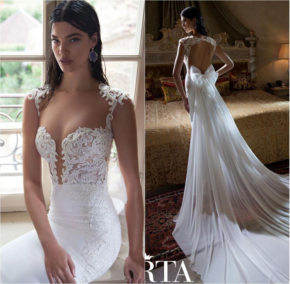 The Bride Gowns For Wedding Reception: Berta Vestido De Noivas Praia Sheer Lace Cap Sleeve