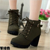 Hot! 2015 New Brand Platform High Heel Single Shoes Vintage Women Motorcycle Boots Martin Boots,Size 35-39,Free Shipping