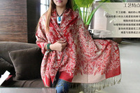 Free shipping ! Woman New Winter Scarf Jacquard Fringed Scarf Thick Warm