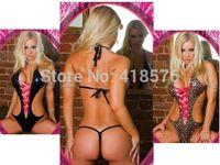 Sexy Leopard Women's Lingerie Leather Underwear Lady Sleepwear Babydoll+G String Nightwear Clubwear