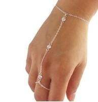 Hot Punk Crystal Bracelet Finger R Bangle Slave Chain Hand Harness 2color retail