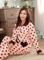 Ms. thick flannel pajamas hearts female mink velvet tracksuit large size pajamas