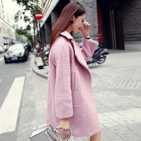 2014 winter fashion turn-down collar loose blended-color coarse medium-long flowers pink wool coat outerwear female