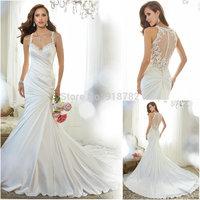 New Arrival Fast Shipping Sheer Back Lace Court Train Satin Vestido De Noiva 2015 Mermaid Wedding Dress