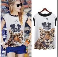 2014 Summer New Women Chiffon Blouse Tiger Printing Pattern Loose Short Sleeve Fashion Street wear Plus Size