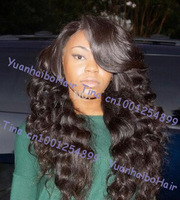 "10""-30"" in stock! top 6A quality #1b loose wave virgin brazilian hair lace front wig with side bangs free shipping"