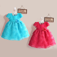 Free shipping retail,baby clothing New Year clothes 3D rose girls princess dress summer party dress baby wear shipping