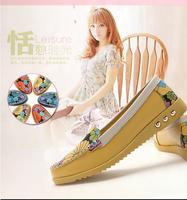 New 2015 women genuine leather shoes woman high grade cowhide women flats summer flower printing flat shoes tenis ballet flats