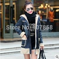 2014 New Brand High quality Down & Parkas European Fashion Lambs wool Women Winter thick Hooded Denim Jacket Women Warm Coat