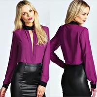 New Fashion Casual Spring Autumn Women blouses blusas femininas Patchwork sexy Chiffon Shirts Blouse women tops plus size