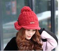 100pcs fedex winter 2014 fashion women Korean ear protection hat female Knitted hats Twist cap Add velvet lining beige black