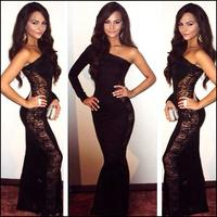 Sexy Black Lace Dress Vestido de Festa Celebrity Maxi Dress Long Party Evening Dress Bodycon Women Dress Free Shipping