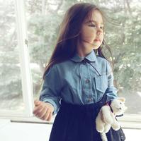 2015 Baby Girls Jean Patchwork Long Sleeve Tutu Dress, Children Cute Cowboy Clothing, 5 pcslot, Wholesale, Free Shipping