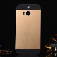 New Metal Brush Shiny Aluminum+Black PC Frame Hard Cover Good Touch Feeling Back Phone Shell Case For HTC One M8