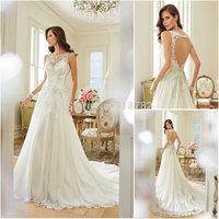 Vestidos De Noivas 2015 Sexy Fashion A Line High Neckline Lace Court Train Backless Wedding Dress Bridal Gown