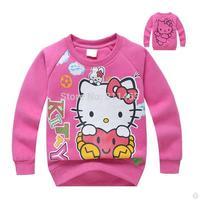 2015  girls O-neck  hello kitty plus velvet hoody / cute kids pullovers / spring  autumn children's coat