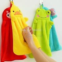 Nursery Hand Towel Soft Plush Fabric Cartoon Animal Bathing Hanging Wipe Towel