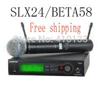 Free shipping  good sound SLX24/BETA58 handheld  KARAOKE stage Wireless Microphones system