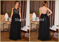 Sexy Black Delicate Appliques Transparent Evening Gown Open Back Long Prom Dress 2014 Hot Sale Vestido