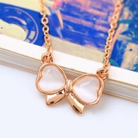 New Bowknot Crystals Necklace Pendant Choker 18k Gold, 18k Silver Chain 2015 Woman Fashion Brand Jewelry Valentine's Day Gift