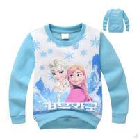 2015 girls O-neck  frozen Anna & Elsa princess pattern plus velvet hoody / cute kids sportswear  / fashion children sweatshirt