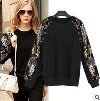 2015 antumn winter t shirt women long sleeve O neck patchwork pullovers knit shirt women clothing sweater tops black L-5XL