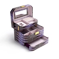 Wholesale!High quality pu leather alligator cosmetic box,fashion makeup box with drawer,organizer box for make up,girl gift