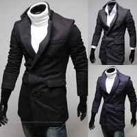 2014 new fashion leisure self-cultivation button asymmetric design of stand collar men long windbreaker jacket