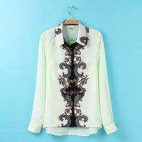 2015 European style totem  printed chiffon shirt female long-sleeved shirt blouse S8016